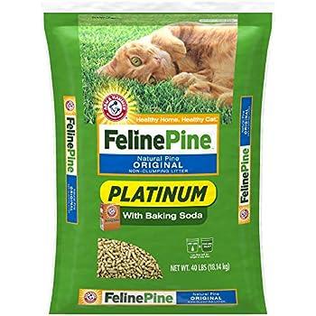 Feline Pine Platinum Natural Pine Original Non-Clumping Cat Litter with Baking Soda 40 lb