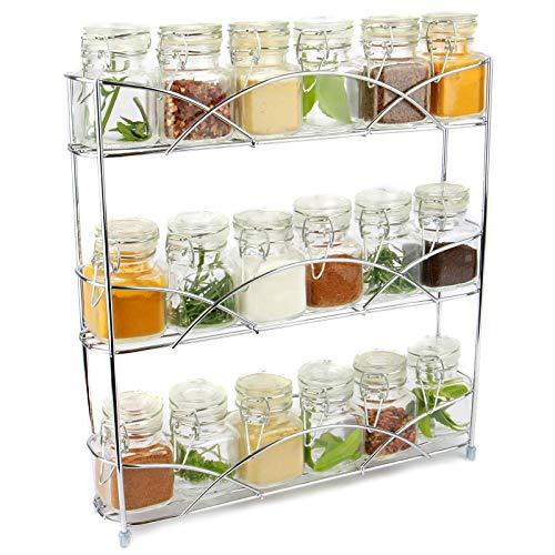 Maison & White | Organizador de racks de hierbas y especias de 3 niveles | Diseño moderno antideslizante independiente | Diseño universal | Solución de almacenamiento de cocina y despensa| Cromo