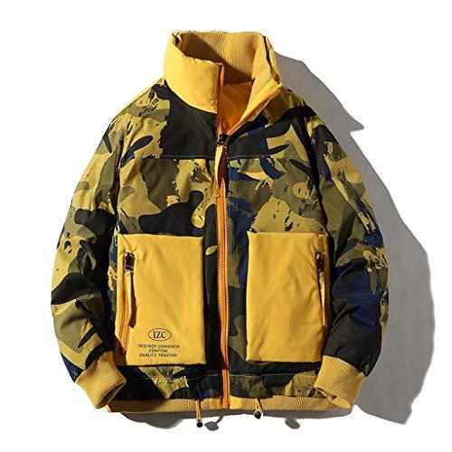 Diaod Chaqueta de Invierno cálido Abajo Hombres a Prueba de Viento Stand Stand Chaqueta Parkas Hombres otoño Moda Streetwear Casual Abrigo Hombres (Color : Yellow, Size : Large)