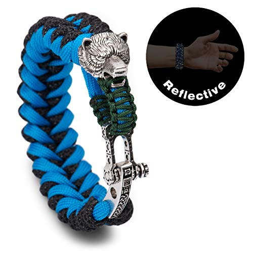 Kayder Vintage Silver Bear Head Paracord Bracelet High Visibility Safety Reflective Outdoor Gear with Adjustable Celtic Style D Shackle, 3M Reflectors Paracord Handwoven Wristband for Night Activity