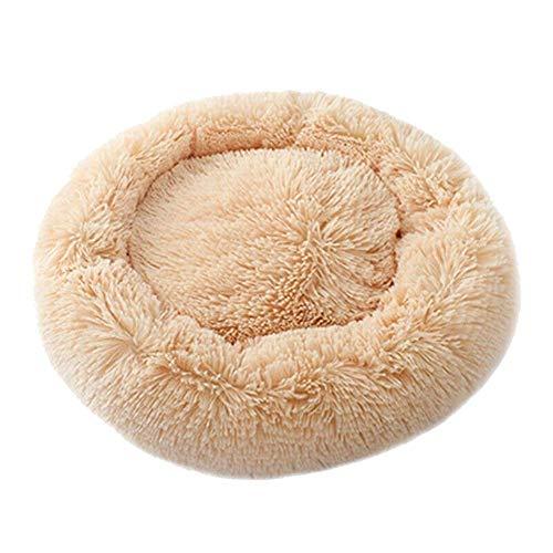 Mkiki Beruhigendes, rundes Haustierbett, warm und weich, bequem zum Schlafen im Winter, aprikose, 50 cm