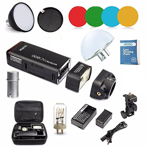 Godox AD200 Nuevo 2.4G TTL Bolsillo Flash 200Ws TTL HSS 1 / 8000s Flash con 2900mAh Litio Batería + AD-S11+AD-S2+AD-17+ AD-15 para Canon Nikon Sony