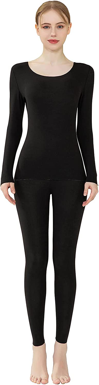 PLUMZJOY Women's Thermal Underwear Sets Ultra Soft Long Johns Fleece Lined Base Layer Warm Top Bottom