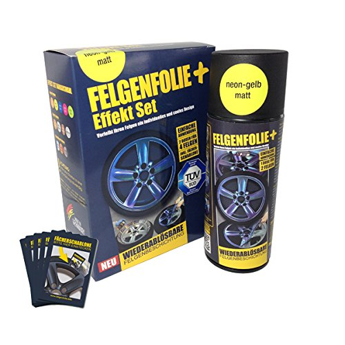 mibenco 71001026 FELGENFOLIE+ Effekt Set, 2 x 400 ml, Neon-Gelb - Flüssiggummi Spray / Sprühfolie - Neue Neon-Farbe und Schutz zum Felgen lackieren