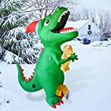 GOOSH 7Ft High Christmas Inflatable Dinosaur with Build-in LED Light Blow up Yard Decoration, Indoor Outdoor Party Garden Christmas Decoration.
