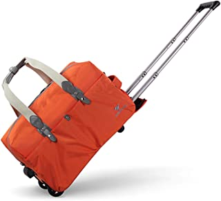 Holdall Trolley Bag Wheeled Hand Luggage Holiday Weekend (Color : Orange, Size : 24inches)