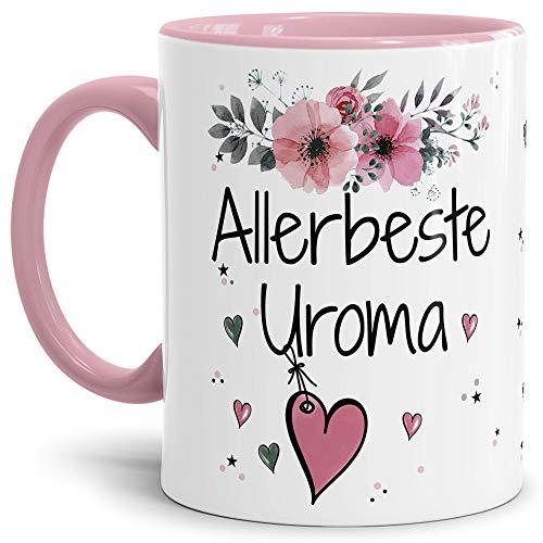 Tasse mit Spruch - Allerbeste Uroma - Schöne Geschenkidee/zum Geburtstag für Beste Freunde und Familie/Danke Tasse - Innen & Henkel Rosa