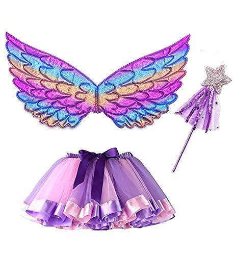 Alas Hada Disfraz, Tutu Wings and Set Butterfly Wings Disfraz de Princesa de Hadas para niñas Disfraz de