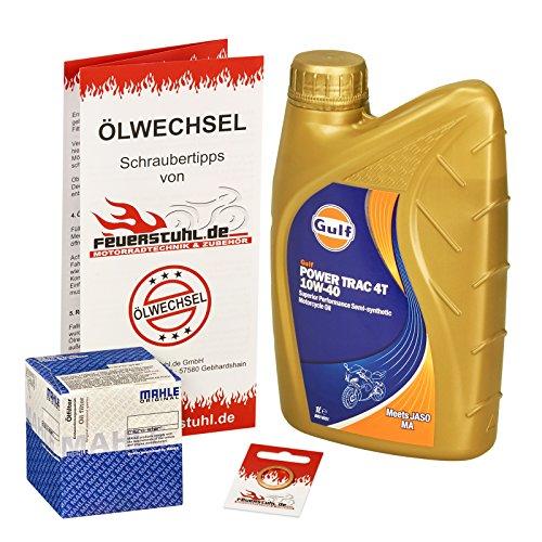 Gulf 10W-40 Öl + Mahle Ölfilter für Kawasaki KLX 125, 10-15, LX125C - Ölwechselset inkl. Motoröl, Filter, Dichtring