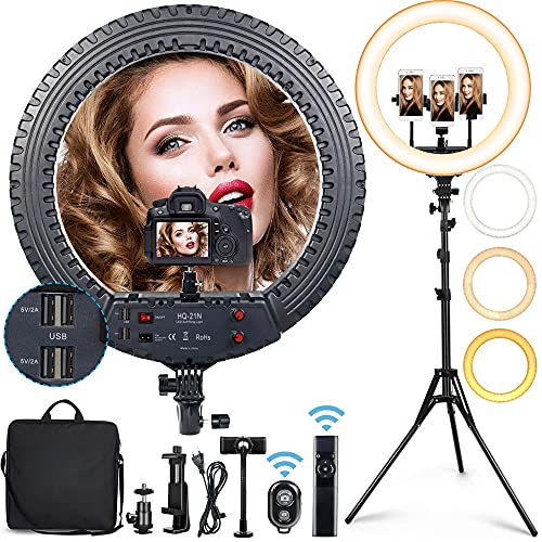 """Big Ring Light, 21"""" Selfie Ring Light with 73"""" Extendable Tripod Stand & Flexible Phone Holder, Adjustable 72W 3200K-6000K Color Temperature Lighting for Live Stream, Makeup, YouTube, TikTok Video -  Kiato"""