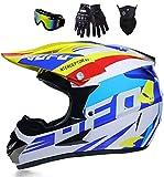 UFO – Casco ligero de motocross & Enduro – (guantes, gafas de protección, máscara, juego de 4 piezas) Unisex Cross Casco Downhill Quad Enduro ATV Motocicleta Casco de protección para hombre mujer