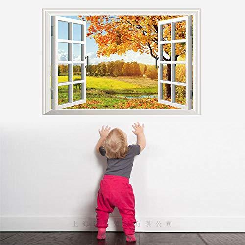 Bdhnmx 3D Muursticker Zelfklevende raamdecoratie Herfst Pastoraal Landschap PVC Materiaal Verwijderbare Muur voor Woonkamer Slaapkamer Huisdecoratie 60x90cm Muurstickers Poster Behang muurschildering