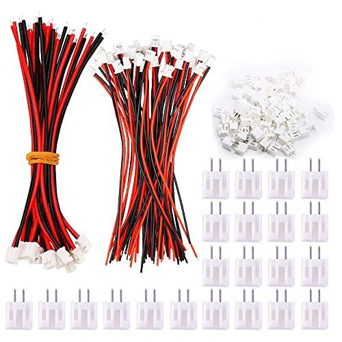 HUAZIZ 50 Piezas Micro Conector 2 Pines JST PH 2.0 Enchufe Macho y 20 Piezas 10cm Cable de Silicona Rojo y Negro