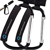 Stroller Hooks - XLarge Set of 2 - Easy to Clip on Stroller & Saves You Carrying Shopping & Diaper Bags – Hook All the Baby GearYou Need & Go – 2 Adjustable Straps - Carabiner Clips Fit All Strollers