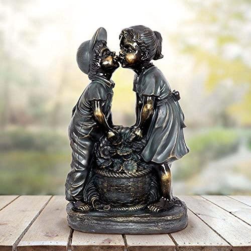 Kinderstatue Gartenstatue Junge MäDchen Gartenstatue, Brunnen Im Freien, Gartenbrunnen Im Innenhof Im Freien (Kuss)