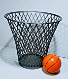 WG Commerce Silver Basketball Hoop Style Wastebasket with Mini Basketball