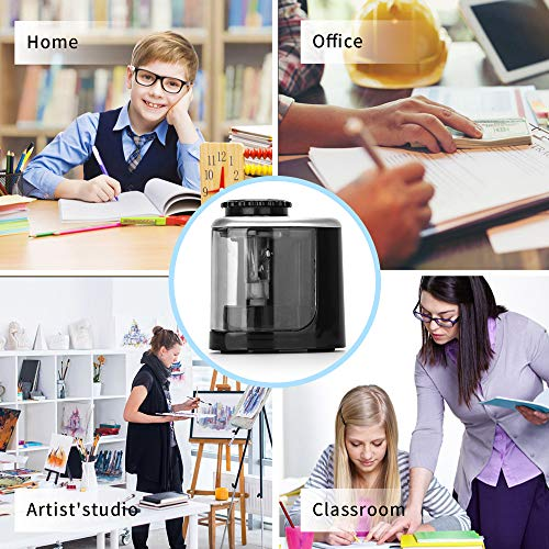 Pencil Sharpener Electric Pencil Sharpeners, Portable Pencil Sharpener Kids, Blade to Fast Sharpen, Suitable for No.2/Colored Pencils(6-8mm)/School Pencil Sharpener/Classroom/Office/Home (Black) Photo #4