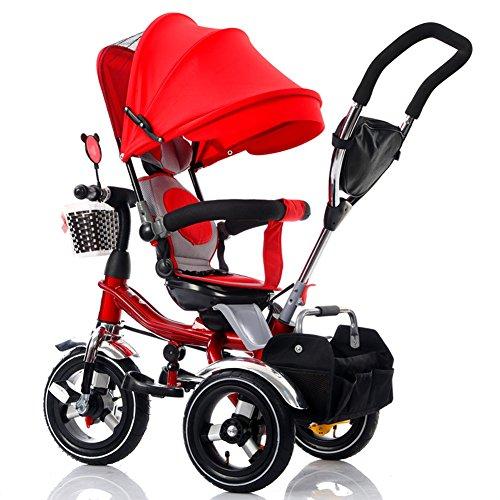 NAUY @ Triciclo para niños Bicicleta para niños 1-3-6 años Viejos Niños Plegables 3-Titanium Rueda espacial Cochecito de bebé Asiento giratorio Sillas de paseo (color : Rojo)