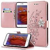Compatible con funda para iPhone 6S Plus/6 Plus, funda de piel sintética con purpurina y diamantes en relieve, diseño de flor de ciruelo y flores, color oro rosa