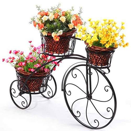 XU FENG Schmiedeeisen Fahrrad Blumenständer, 3 Tiered Pflanze Blumentopf Stehen Moderne Dekorative Garten Terrasse Kleine Fahrradständer Hält 3 Blumentopf (Farbe : Schwarz)
