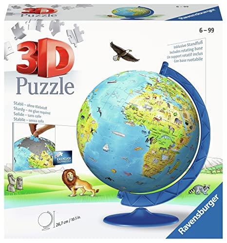 Ravensburger 12339 – Puzle 3D de mapamundi XXL, 180 Piezas