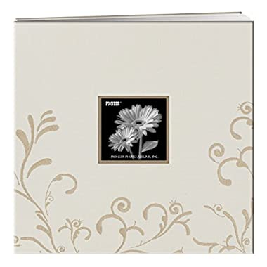Pioneer 12  X 12  Scroll Embroidery Fabric Postbound Memorybook With Window, Ivory