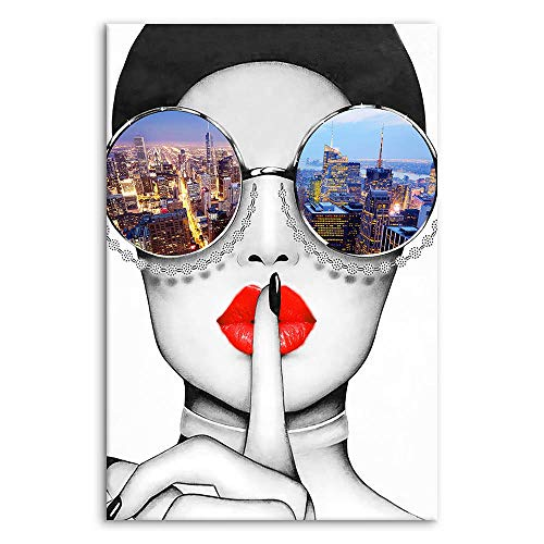 Modern Fashion Women Art Print Contemporary Wall Art Red Lip Canvas Prints Stylish Feminine Framed Wall Art Painting Cityscape Piture Ready to Hang for Home Decoration (Multicolor, 16x24inx1)