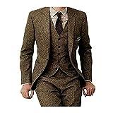 Men's Tweed Herringbone Check Tan Tuxedos Groom Slim Fit Formal Vintage 3 Pieces Suit,44chest/38waist
