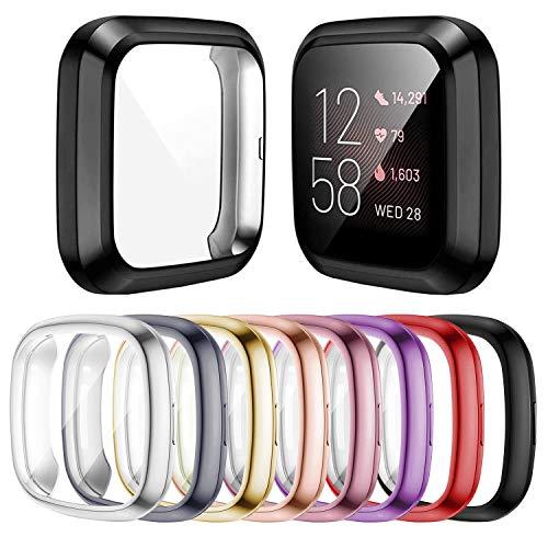 Mocodi 8 Pack Funda para Compatible con Fitbit Sense/Versa 3, Paquete de Parachoques Suave Chapado en TPU Protector Funda Protectora Completa,Accesorios para Reloj Inteligente Fitbit Sense/Versa 3