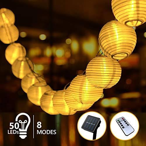 Guirnaldas Luces Exterior Solar LED, 9.5m 8 Modes 50 FarolillosCadena de LucesImpermeable, Luz Solar Decoracion para Jardin, Terraza, Cortina, Vallas de Madera, Caseta, Navdid (Blanco cálido)