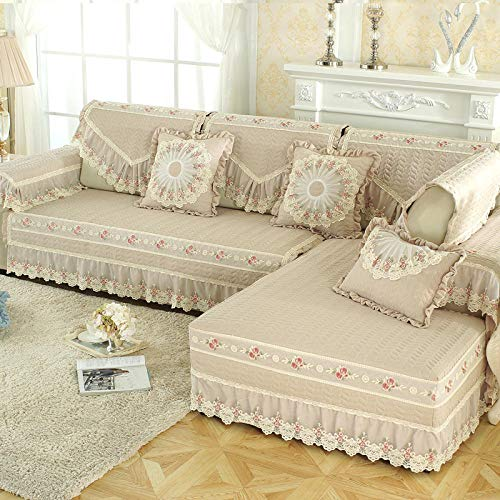 YUTJK Pet Dog Furniture Protector,Brushed Washed Cotton Sofa Cushion with Lace Skirt,Summer Fabric Sofa Towel,Bedroom Autumn Non-slip Sofa Cover-Beige_60x70cm+17cm
