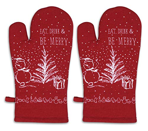 AMOUR INFINI Christmas Party Oven Mitts | Set of 2 | 7 x 13 Inches | 100% Natural Cotton | Holiday Oven Mitts with Hanging Loop | Durable Heat Resistant for Kitchen, Baking
