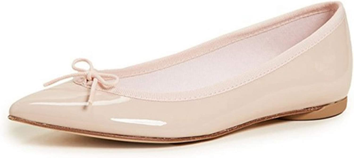 Jocbinltd Pointy Toe Flats Comfortable Ballet shoes with Bow Spring Incomparable Noble Attractive Elegant