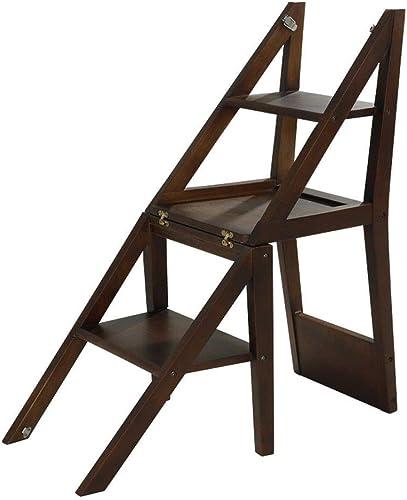 RMJAI Massivholzleiter Stuhl Multifunktionshaushaltsklappbarer 3-stufiger Aufstiegsleiter Herringbone-Leiter Hocker Rack Indoor Tritthocker (Farbe   Walnut Farbe)