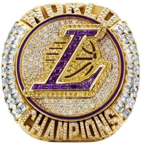 HRZGJ 2020 NBA Lakers Campionato Anello Basket James 9-13 Dimensioni Fan Souvenir Replica Movimento Anello Rimovibile con Scatola di Legno Regalo di Compleanno (9)