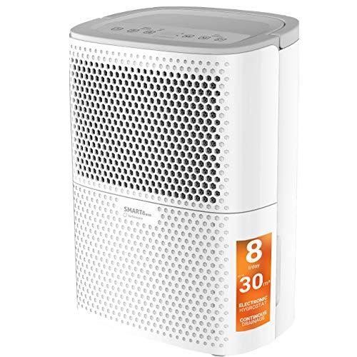 Turbionaire Smart 8 Eco Luftentfeuchter, Extrem leise, Sparsam bis 200 Watt, 8 L / 24h, für Räume bis 30 m³, Staubfilter enthalten, Eingebauter Hygrostat