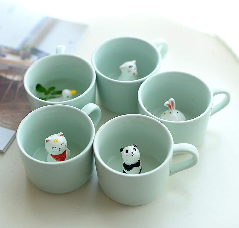 Tasse à thé élégante Tasses à lait en céramique de tasse de café animal du fond 3D avec la voitureicature de cuillère de couverture (conception  petit chat) (Taille   5 animal)
