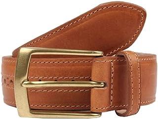 Dents Men's Heritage Brogue Detail Leather Belt