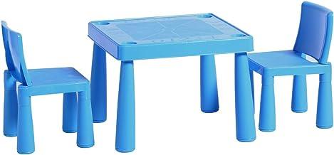 HomeStoreDirect Juego de mesa y sillas de plástico azul para jardín exterior o interior: Amazon.es: Hogar