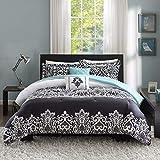 Intelligent Design Cozy Comforter Casual Damask Design Modern All Season Bedding Set with Matching Sham, Decorative Pillow, King/Cal King, Black/Aqua 5 Piece