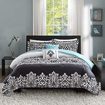 Intelligent Design Cozy Comforter Casual Damask Design Modern All Season Bedding Set with Matching Sham Decorative Pillow Twin/Twin XL Leona Black/Aqua
