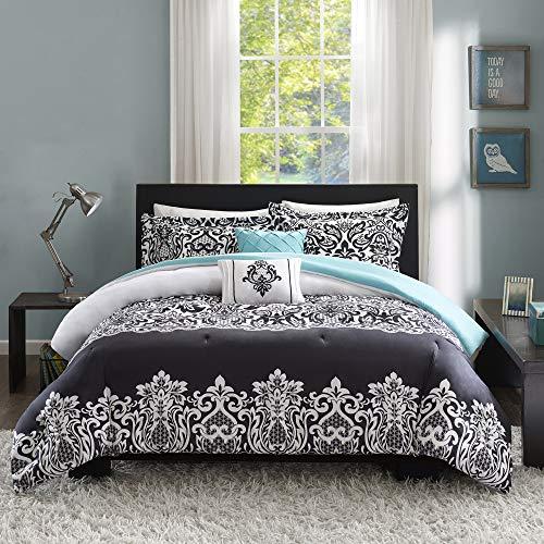 Intelligent Design Modern All Season Bedding Set with Matching Sham, Decorative Pillow, Full/Queen, Leona Black/Aqua