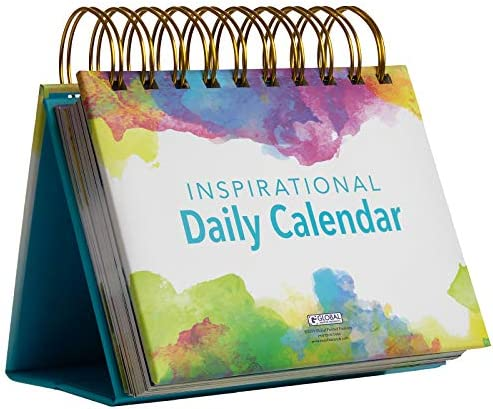 Motivational Inspirational Perpetual Daily Flip Calendar with Self Standing Easel Watercolors product image