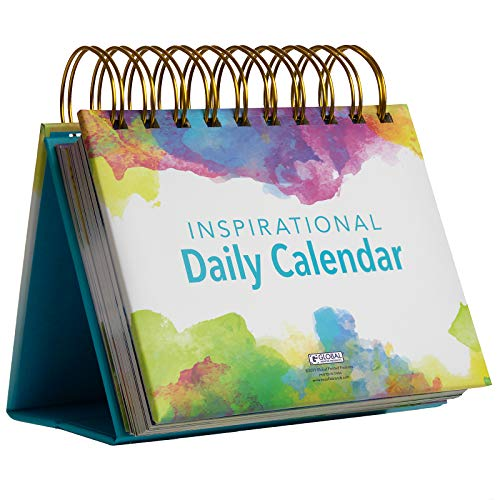 Motivational & Inspirational Perpetual Daily Flip Calendar with Self-Standing Easel (Watercolors)