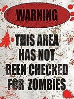 ゾンビ警告ティンウォールサインおかしい鉄絵ヴィンテージメタルプラーク装飾警告サイン吊りアートワークポスター用バーコーヒーパーク