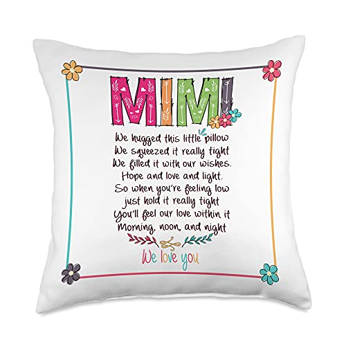 Lovely Pillow - Gift for Mother's Day Mimi Colorful Art Gift for Mother's Day Throw Pillow, 18x18, Multicolor