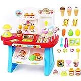 Juguete de supermercado, dinero de juego y juguete de comestibles para niños y niñas, más de 30 accesorios de comida incluidos