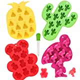 Whaline 4Pcs Silicone Chocolate Molds with Dropper Hawaiian Candy Mould Ice Cube Trays Summer Cactus Flamingo Bear Pineapple Molds for Ice Jelly Chocolate Gummy Candy Soap Baking Kids' Party