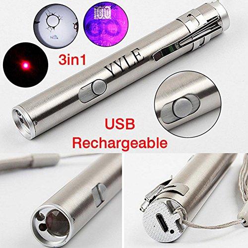3 in1 500LM mini USB de aluminio recargable LED linterna UV linterna multifuncional de la lámpara