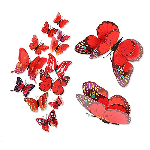 BLOUR Pegatinas de Pared de Bricolaje 12 Pegatinas de Nevera de tamaño de Conjunto de Mariposa de Doble Capa Pegatinas de Nevera Populares de Moda 3D decoración